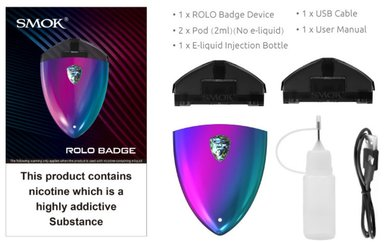 SMOK Rolo Badge Pod Vape Kit 250mAh (10ml e-liquid included)